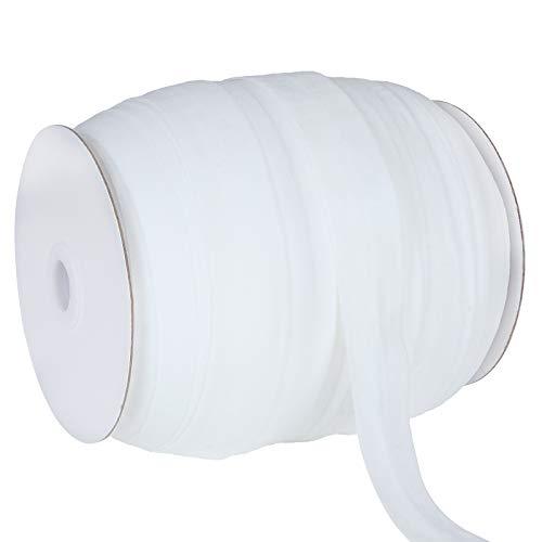 100 Yards 1 Inch Single Fold Bias Tape, Wide Fold Bias Binding Tape, Sewing Bias Tape, Elastic Bias Binding Tape for Mask Making, Seaming, Hemming, Piping, Quilting, DIY Garment Accessories, White
