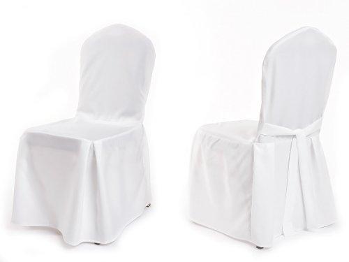 TexDeko Stuhlhussen für Bankettstühle Stapelstühle - Modell Moskau - Premium Stuhlbezug Stuhlüberwurf Weiß