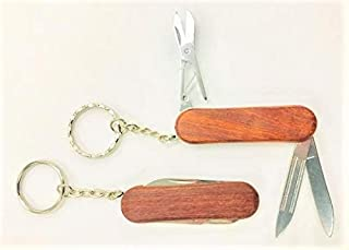 POCKET KNIFE MULTI FUNCTION TOOL - WOODEN HANDLE -3 FUNCTIONS AND KEYCHAIN