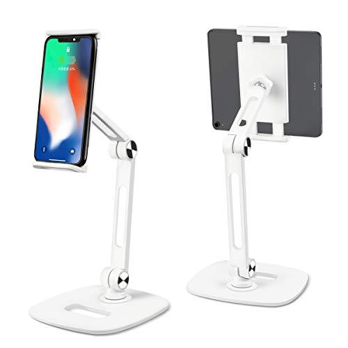 Rcharlance Soporte multiángulo para tablet de 4 a 13 pulgadas, ajustable y plegable, de aluminio, color blanco