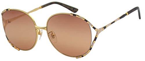Gucci Unisex – Erwachsene GG0595S-003-59 Sonnenbrille, Gold-Mix Gestreift, 59