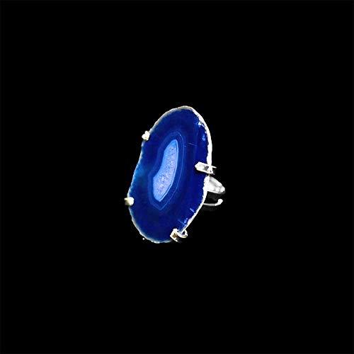 Mineral Import Anello di agata colorata regolabile bagno in argento