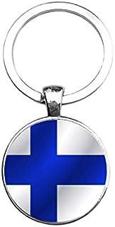 Sleutelhanger Glas - Vlag Finland