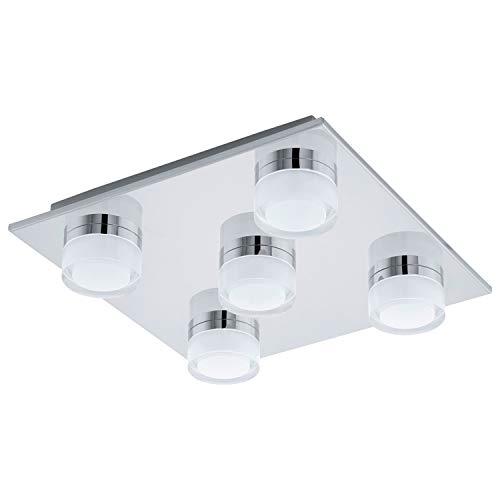 EGLO LED Deckenlampe Romendo, 5 flammige Deckenleuchte Bad, Badezimmer Lampe aus Stahl und Kunststoff in Chrom, Klar, Satiniert, LED Feuchtraumleuchte, IP44