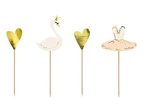 Tortenstecker für die Hochzeit - schöner Schwan und Ballerina - mit Herzen. Kuchenstecker Tortendeko für Torten oder Kuchen