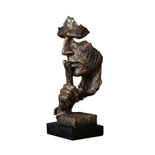 HEALLILY Figura Abstracta Del Hombre Guardar Silencio Figurilla Escritorio Escultura Moderna Decoración...