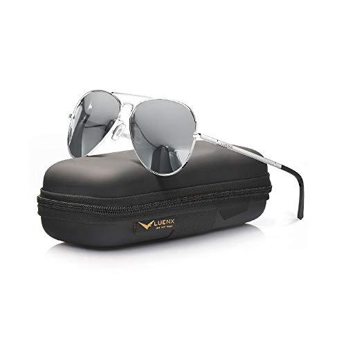 LUENX Women Men Aviator Sunglasses Polarized Mirror Silver Lens Metal Silver Frame with case