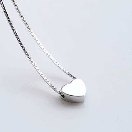 LOt Collar de Plata 925 Colgante Cadena de Clavícula Corta Coreana Estilo Literario Colgante de Amor Joyería de Platacollar