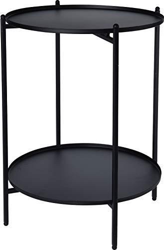 Metall Beistelltisch schwarz 50x35 cm - 2 Ablagen/klappbar - Couchtisch Sofatisch Tisch