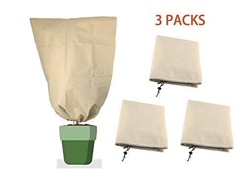 LAVZAN 3Pcs 31'x39' 30g Beige Plant Cover Bag Shrub Jacket for Frost Protection Freeze Protection Insect Protection Terrible Weather Protection