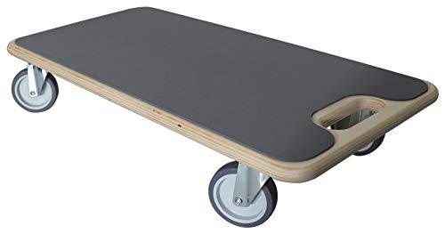 Dörner + Helmer + Helmer&Helmer Duo-Soft - Patinete de transporte (tabla con ruedas, ayuda de transporte máx. 200 kg, 4 ruedas de goma de 75 mm, ruedas para muebles) 290714, madera