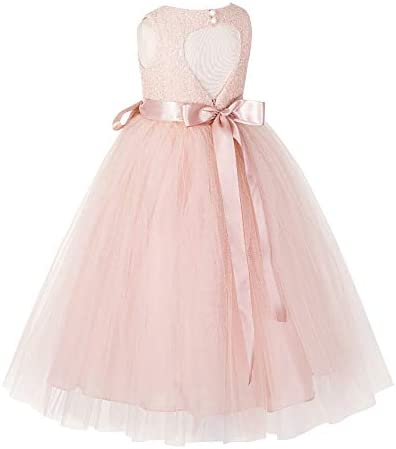 Heart Cutout Sequin Flower Girl Dress Girls Tulle Dresses Wedding Bridesmaid Dress 172seq 4 product image