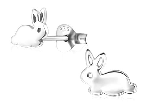 Laimons Kids Pendientes para niña Conejo Brillante Plata de ley 925