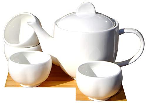 Teiera in ceramica bianca da 0,7l, set con 4tazze a forma di fiore di prugno