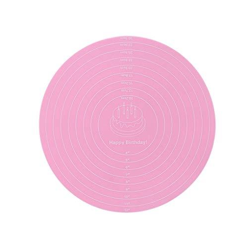 Jinghengrong - Alfombrilla para repostería (30,5 cm), diseño de pasta de repostería, color rosa