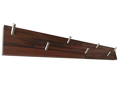ICEBORN Garderobenleiste Wandgarderobe Massivholz amerikanischer Nussbaum geölt Edelstahl Größe L Manufaktur (Nussbaum 800mm)