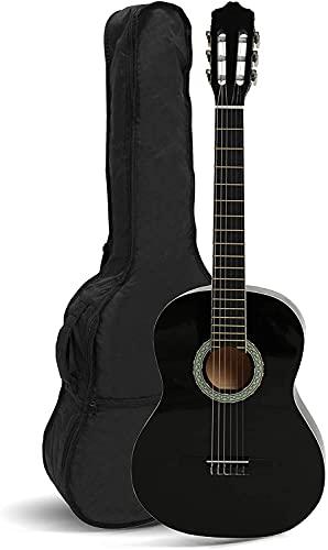 NAVARRA NV15 guitarra clásica 1 2 negro, bolsa Gig Bag, 2 púas