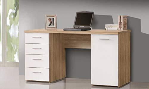 MJC Schreibtisch, Arbeitstisch, Bürotisch, Computertisch, Tisch, Weiß/Sonoma Eiche
