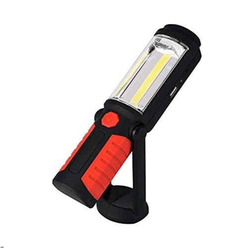 ELINKUME Linterna del trabajo, Luz de Trabajo Recargable de la COB LED 3W, Interruptor de la Prensa, con el Magnetismo Fuerte y el Cierre Fácil de Utilizar y de lLlevar 2 Modos Linterna al Aire Libre