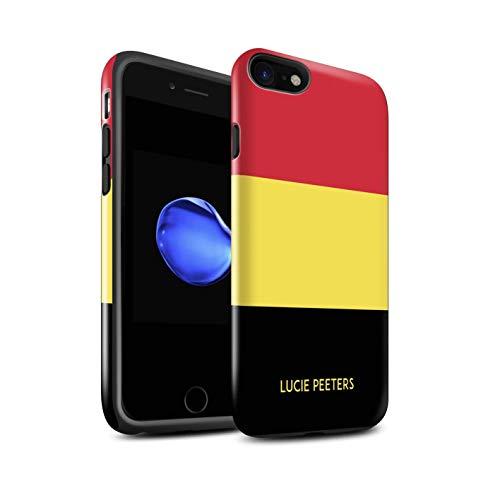 Personnalisé Drapeau National Nation Personnalisé 2 Brillant Coque Robuste pour Apple iPhone Se 2020 / Belgique/Belge Design/Initiales/Nom/Texte Antichoc Etui/Housse/Case