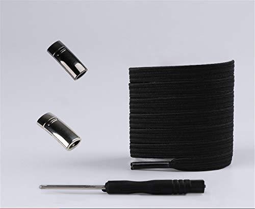 Magnetische Schnürsenkel, elastisch, Schnellverschluss, kein Binden von Schnürsenkeln, für Kinder und Erwachsene, Unisex, Schnürsenkel, Sneaker, Schnürsenkel, Schnüre (schwarz)