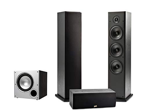 sounding tower speakers Polk Audio T Series 3.1 Channel Complete Home Theater System with Powered Subwoofer | One (1) T30 Center Channel, Two (2) T50 Tower Speakers | Wi-Fi, Alexa, HEOS Built-in