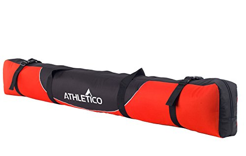 Athletico Mogul Padded Ski Bag - Fully Padded Single Ski Travel Bag (Red, 170cm)