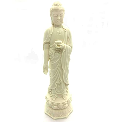 Buddha Statue for Home and Garden,7.2' Amitabha Buddha Statue,Ivory Finish Standing Statue,Collectibles and Figurines,Desk Decor Zen Decor Garden Decor,Pray for Blessing.