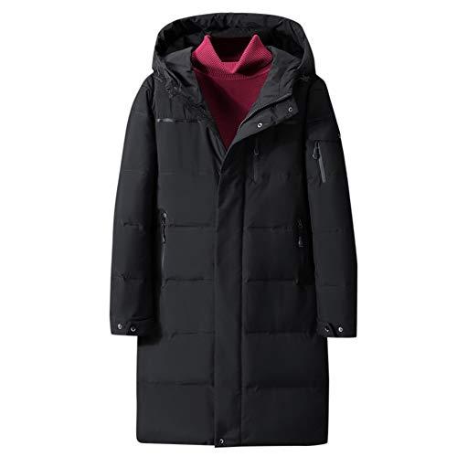 Abrigo de plumas para hombre de invierno largo con capucha cálida, abrigo de gran tamaño, cortavientos Noir 1 XL