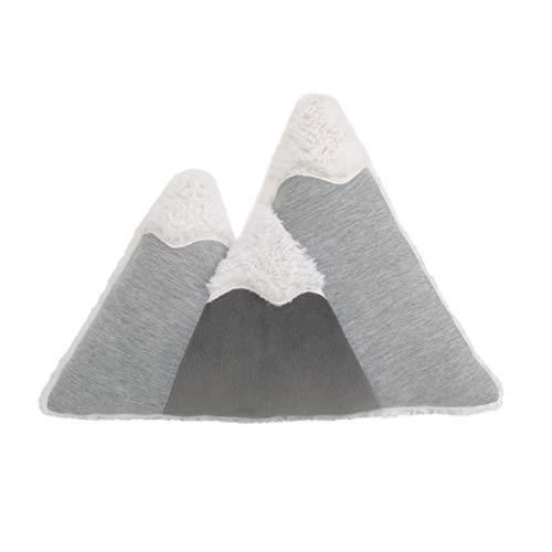 Little Love by NoJo Mountain Shaped Grey & White Plush Decorative Pillow, Grey, White, Charcoal
