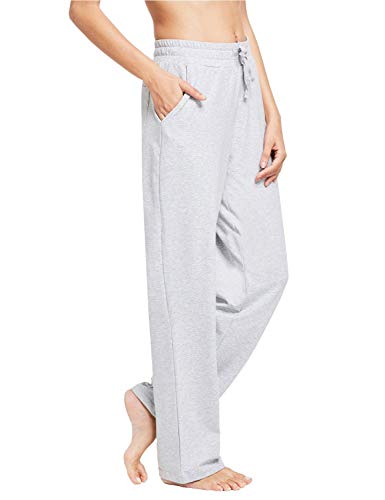 BALEAF Women's Cotton Yoga Casual Sweatpants Brushed Liner Lounge Drawstring Walking Wide Pajamas Pocketed Light Gray L