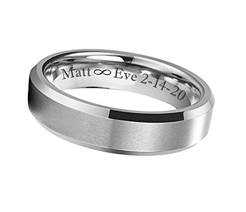 Personalized Men's Brushed Center with Beveled Mirror Edge Ring Custom...
