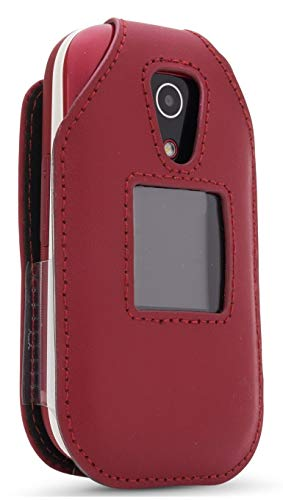 Leather Fitted Case for Consumer Cellular Doro 7050, Tracfone Doro 7050L Flip Phone - Features: Rotating Belt Clip, Screen & Keypad Protection & Secure Fit (Red)