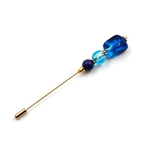 rougecaramel - Pic à Chapeau Broche/fibule/épingle à écharpe composé de Perles - Bleu