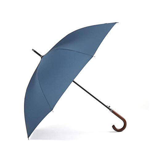 YSJJAXR Paraguas Paraguas a Prueba de Viento 8K Mango de Madera de los Hombres Grandes Paraguas Lluvia de Visita clásica de Calidad (Color : Blue)