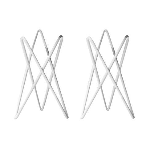 BESPORTBLE 2 Stück Luft Pflanzenhalter Himmeli für Tillandsia Luft Pflanzen Steht Container Display Tischplatte Metall Rack Halter Rustikal Geometrisch Weiß