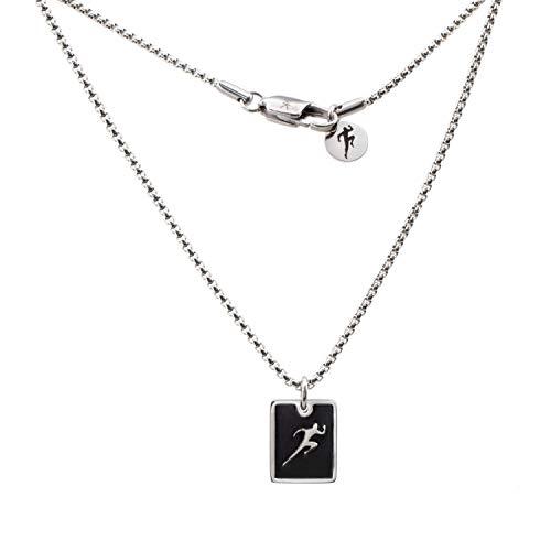 Minoplata Collar de Acero Inoxidable Placa Corredor Atletismo una Joya de diseño Moderno Amantes del Running