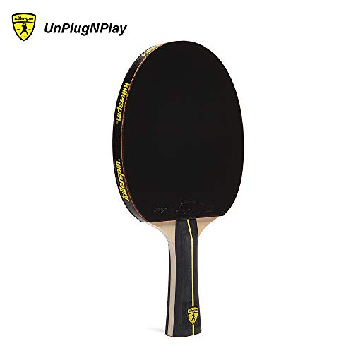 Killerspin Jet Black Combo Table Tennis Paddle with Sleeve, Competitive Ping Pong Paddle with Carrying Case, Table Tennis Racket with Wood Blade, Nitrx Rubber Grips Ping Pong Balls - Black