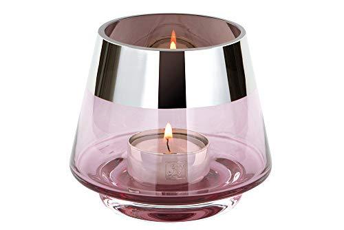 Fink Jona - Portavelas (cristal, 9 cm de altura, 11 cm de diámetro), color rosa claro