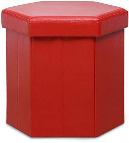 ZCM Otomano De Almacenamiento Hexagonal Plegable De Muebles Rojos, Taburete De Cuero con Reposapiés, Taburete Tapizado, Taburete, Mesa De Centro(Color:Rojo,Size:45x45x40cm(18x18x16inch))
