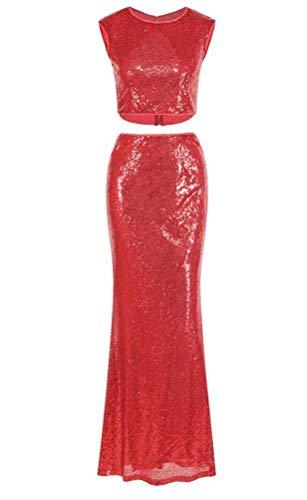 O&YQ Sommer Frauen Reizvoll Undicht Nabelschnur Fischschwanz Abendkleid Langen Rock Zweiteilig Paillettenkleid, rot, s