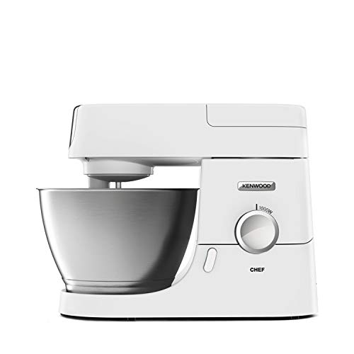 Kenwood Chef Stand Mixer for Baking - Stylish Food Mixer in White with K-beater, Dough Hook, Whisk and 4.6 Litre Bowl, 1000 W, KVC3100, White