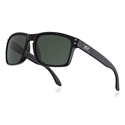 Image of the BNUS Italy made Polarized Sunglasses for men Corning Real Glass Lens (Black/Polarized Green G15, Size:56mm(M))
