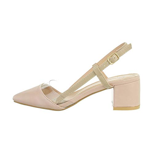 Ital Design Damenschuhe Pumps High-Heel Sandaletten, F250-, Kunstleder, Altrosa, Gr. 37