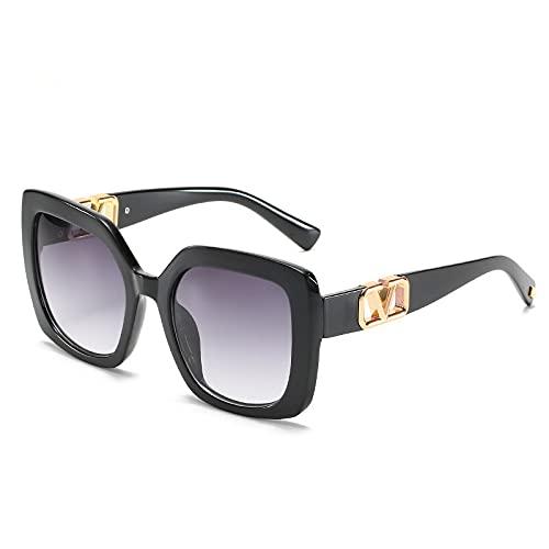 Gafas de sol cuadradas de montura grande 2021 para mujer, de lujo, de gran tamaño, lentes de degradado vintage, gafas de sol UV400 (color de la lente: negro)