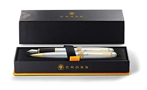Cross Bailey Kugelschreiber und Füllfederhalter Geschenkset (23-Karat galvanischer Goldüberzug, Schreibfarbe schwarz, dokumentenecht) medalist