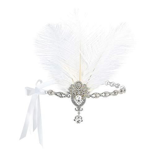 Metme Damen Kopfkette der 1920er Jahre Kopfschmuck Feder Strass Stirnband Great Gatsby Flapper Haarschmuck MEHRWEG