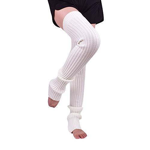 Nanxson Damen Mädchen Extra Lang Basic Leg Warmer Gestrickte Over-Knee Lange Stulpe Beinstulpe Tanzen Strumpf TTW0056 (M 85cm, weiß