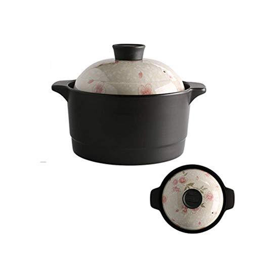 ZHHZ Olla Hecha a Mano Cazuela de cerámica para el hogar con Tapa Estufa de Gas de Alta Temperatura Olla de cocción Especial 2.6l Adecuado para Olla de cocción Lenta, E