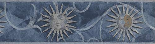 Wallpaper Border Sun and Moon Starry Sky - Great Wall Décor for Boy or Girl Bedroom, Colors Blue Brown and Silver-Grey, Size 7 Inches by 15 Feet SH79701L